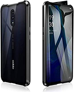 Case for OPPO Reno2 (6.5'') Cover,[Magnetic Adsorption][Metal Frame + Front and Back Tempered Glass Transparent]Flip Cover...