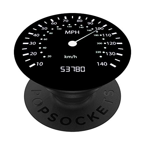 Speed Speedometer Odometer Car Race Motorcycle Bicycle Black PopSockets PopGrip: Swappable Grip for Phones & Tablets