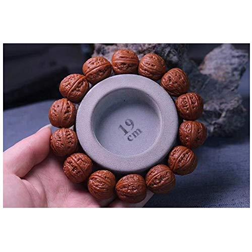 ZYLE Nogal Crafts, Pulsera de Madera de Nogal Antiguo, Cámara en Mano Chino, Superior Salvaje de Madera de Nogal, 17 × 17 × 16,5 mm