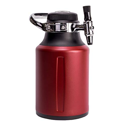 GrowlerWerks uKeg Go Carbonated Growler and Craft Beverage Dispenser for Beer, Soda, Cider, Kombucha and Cocktails, 64 oz, Chili