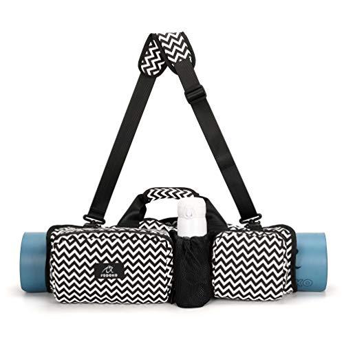 ONEGenug Yogamatten-Tasche, Yoga-Tragetasche aus Segeltuch mit Taschen Faltbare Rollenverpackung Schultertasche Multifunktionale wasserdichte Yogamatte & Yogablöcke Tragetasche (Schwarz B.)