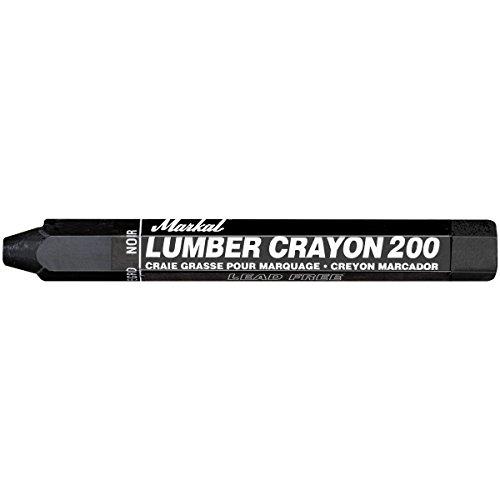 Markal 200 Lumber Crayon Economical Wax Based Marker, 1/2' Hex, 4-5/8' Length, Black (Pack of 12)