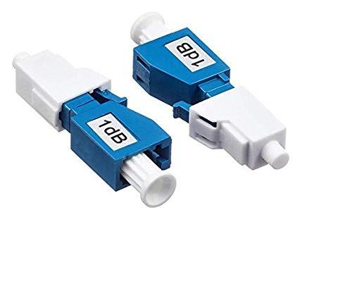 Elfcam - Atenuador de fibra óptica fija monomodo LC/UPC, macho-hembra, juego de 2 1dB azul