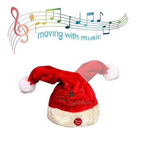 Eillybird Rode fluweel elektrische kerstmuts geborduurde kerstmuziek swing caps partij decoratie muziek schommelingen Kerstman hoed elektrisch speelgoed