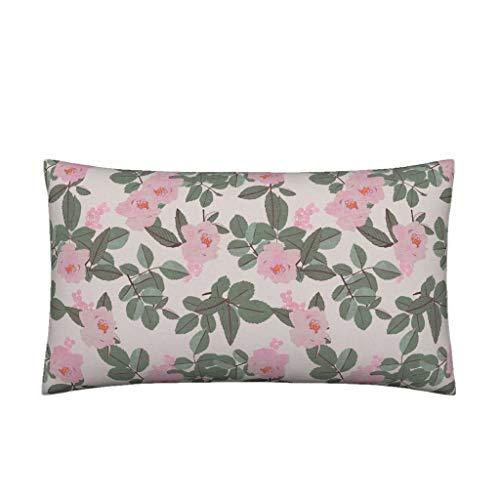 Myrwer2k Lendenwirbelkissen, zypresse, magnolienfarben, Romantisches Blumenmuster, katalanisches Kissen, 35 x 50 cm