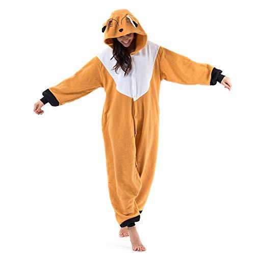 Beauty Shine Unisex Adult Animal Costume Halloween Cosplay Pajamas (Brown Fox, Small)