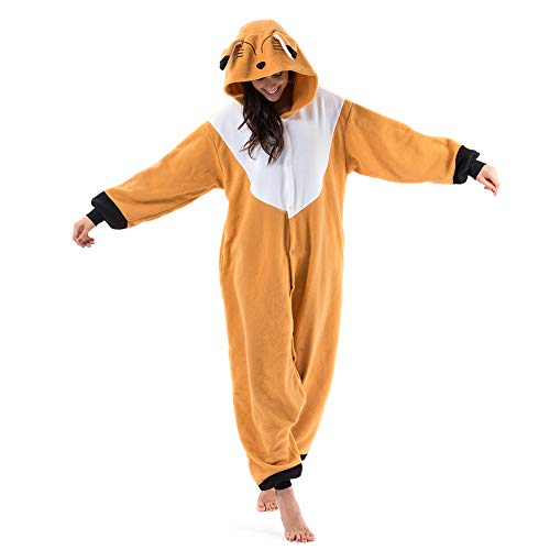 Beauty Shine Unisex Adult Animal Brown Fox Costume Halloween Cosplay Pajamas (XL, Brown Fox)