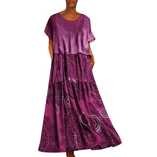 COZOCO Mujer Vestido Cuello V Playa Dress Vestido Verano Mujer Punto Falda Larga Elegante Casual Dress (Rosado,EU-38/CN-L)