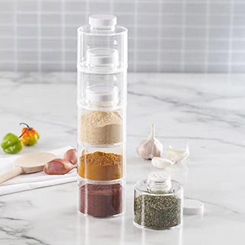 mementoy 6PCS apilables especias botellas de almacenamiento de condimentos de cocina