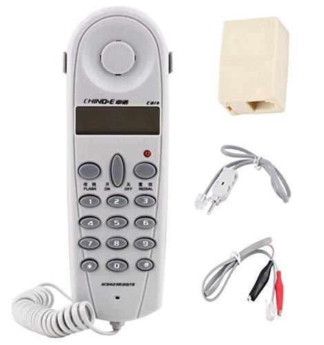 Ecloud Shop® Línea telefónica Teléfono Butt Test Tester Lineman Tool Cable Set (Blanco)