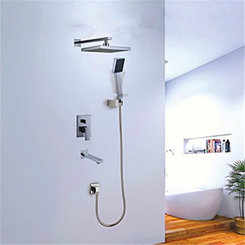 YFF@ILU Home deco Accessoires Dusche Wasserhahn moderne Chrom Wand montiert Doppel Griffe Messing mit Kopf- und Handbrause