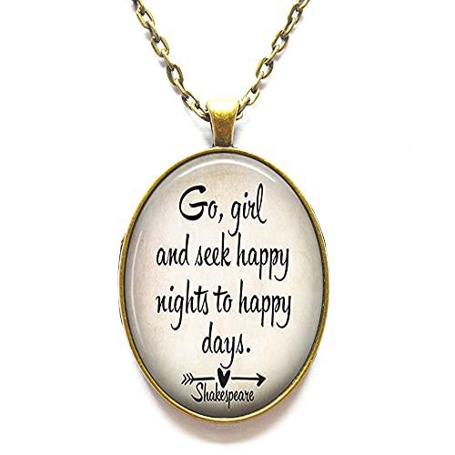Go and Seek - Collar con cita de Happy Nights, regalo de graduación para salir del hogar, collar minimalista, collar delicado, N329
