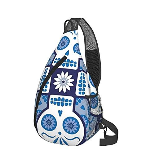 Sling Rucksack Reise Wandern Daypack 3D Grafik gedruckt Crossbody Umhängetasche, Pink - Talavera-Fliesen, Motiv: Totenkopf, Spanisch, mexikanisch, Schwarz - Größe: Einheitsgröße