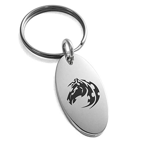 Tioneer Acier Inoxydable Cheval Mustang Tribal Porte-clés Petit Charme Ovale
