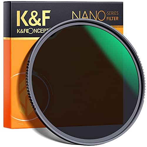 Filtro ND8 (3 Pasos) K&F Concept 55mm Filtro de Densidad Neutra de Vidrio Óptico HD Impermeable Resistente a rayones para Lente Canon Sony Nikon con Revestimiento Antirreflectante Verde