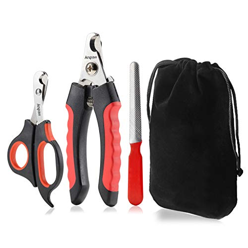 Dog Nail Clippers and Trimmer Set, Anipaw Stainless Steel Non Slip Handles &...