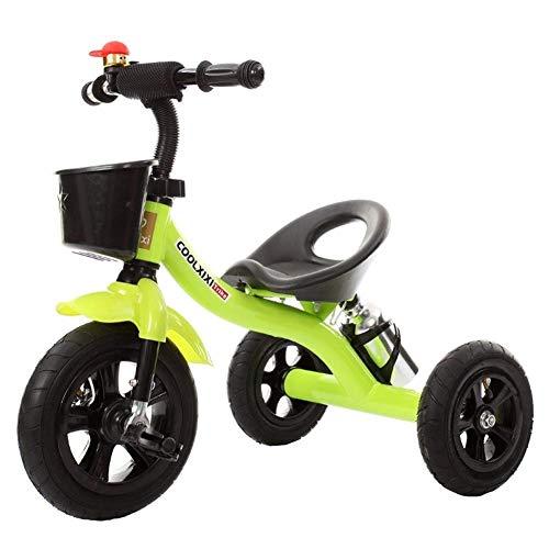 WLD Kinder Fahrrad , Trike Kids 'Dreiräder 1-2-3-4-6 Jahre alt Dreirad Kinderwagen Kind Fahrrad Kinder' S Spielzeugauto Tragbarer Sitz Geburtstagsgeschenk 3 Farboptionen,Grün