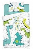 Kinderbettwäsche viele Designs 2-tlg. 100% Baumwolle 40x60 + 100x135 cm (Dino grün)