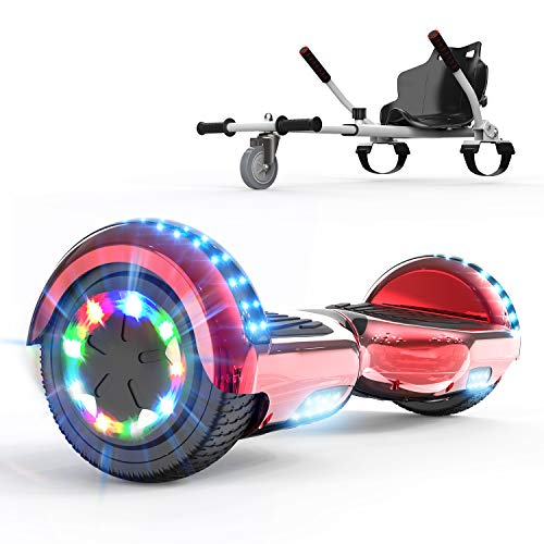 COLORWAY 6.5¡° Patinete El¨¦ctrico con Silla, Hoverboards Altavoz Bluetooth y LED, Scooter para Ni?os (Rojo-Blanco)
