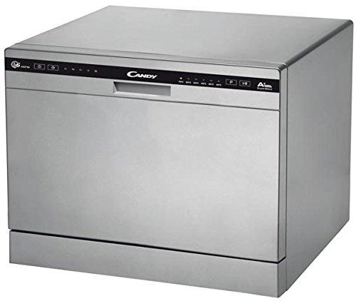 Candy CDCP 6/E-S - Lavavajillas pequeño, 6 servicios, 6 Programas, Inicio diferido, Clase A+A, 51 dB, Color Plata, 50 x 55 x 43.8 cm [Clase de eficiencia energética A+]
