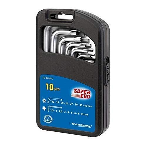 SUPER EGO SEH003200 - Juego llaves allen + torx 18 pcs