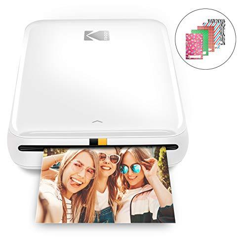 KODAK Step stampante | Stampante fotografica portatile, wireless, tecnologia ZINK Zero Ink, app KODAK gratuita per iOS e Android | Stampa foto adesive 2'x3' da dispositivi Bluetooth o NFC | Bianco