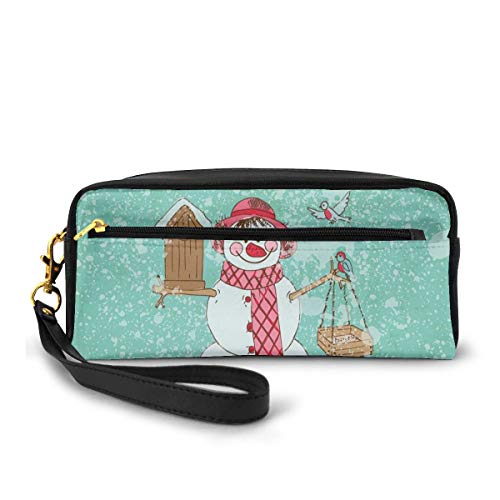 Pencil Case Pen Bag Pouch Stationary,Happy New Year Celebration with Cute Characters Smiling Snowman,Small Makeup Bag Coin Purse