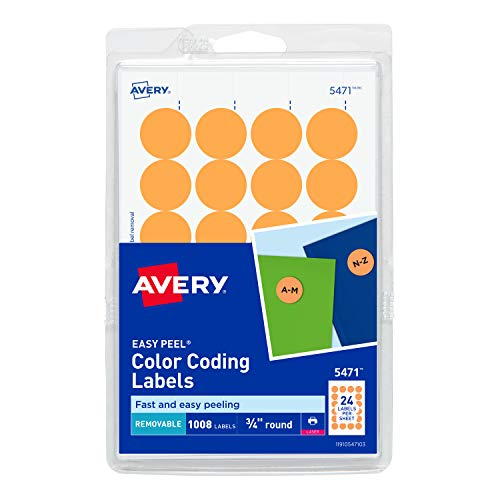 Avery Self-Adhesive Removable Labels, 0.75 Inch Diameter, Orange Neon, 1008 per Pack (05471)