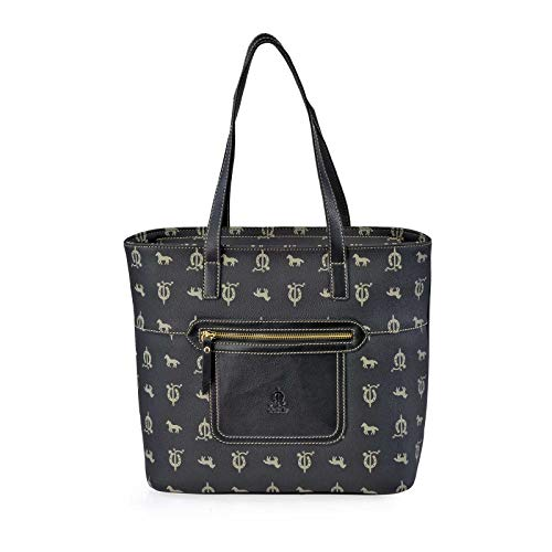 DAVILETTO Bolso Shopping Mujer Londa-Piel doble asa de mano EL CABALLO 1410 (Negro)