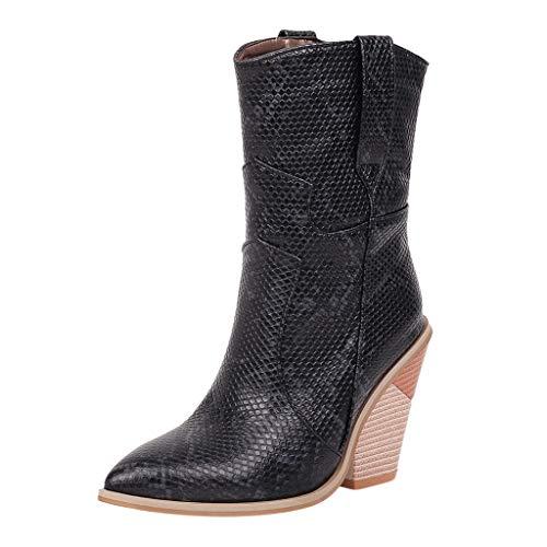 WUSIKY Stiefeletten Damen Bootsschuhe Boots Geschenk für Frauen Leder Snake Print Wedges Schuhe Spitz Cowboy Slip On Ankle Boots (Schwarz, 39.5 EU)