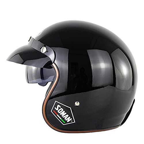Casco de motocicleta de cara abierta de verano 3/4, con visera solar, retro, para adultos, hombres, mujeres, transpirable y ligero, negro brillante, XL