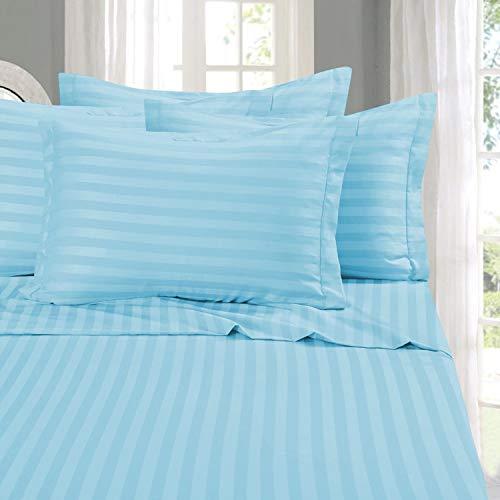 Elegant Comfort Best, Softest, Coziest 6-Piece Sheet Sets! - 1500 Thread Count Egyptian Quality Luxurious Wrinkle Resistant 6-Piece Damask Stripe Bed Sheet Set, Queen Aqua Blue