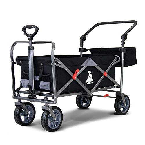 TOPWELL Gartenwagen All-Terrain-Trolley Schwerlast-Schubkarre Faltbarer Wagon, Tragkraft von 120 kg, Gartenwagen mit Einfußbremse, Schwarz/Grau
