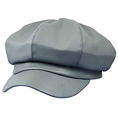 Sportmusies 8 Panels Newsboy Caps for Women, PU Leather Cabbie Painter Hat Gatsby Ivy Beret Cap
