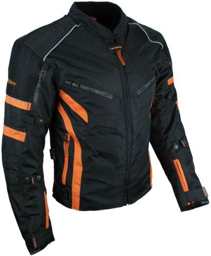 HEYBERRY Kurze Textil Motorrad Jacke Motorradjacke Schwarz Orange Gr. M