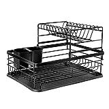Boîte de rangement de cuisine Dish Draineur Rack Disque Séchage Évaluez-la-Disque avec plateau à goutte, Porte-vaisselle avec support d'ustensile, 2 niveaux pour stockage de comptoir de cuisine, noir