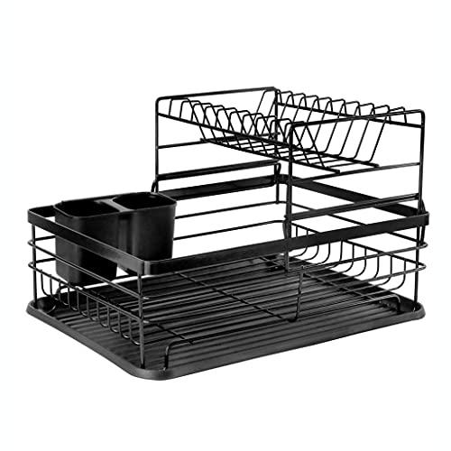 Boîte de rangement de cuisine Dish Draineur Rack Disque Séchage Évaluez-la-Disque avec plateau à goutte, Porte-vaisselle avec support d ustensile, 2 niveaux pour stockage de comptoir de cuisine, noir