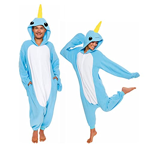 Silver Lilly Adult Narwhal Costume - Dolphin - Pjs (Light Blue, Small)