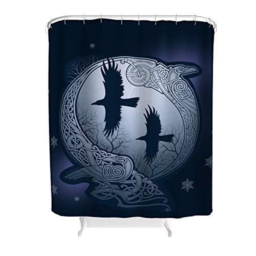 Vrnceit Viking Norse Huginn & Muninn Odins Raben Badezimmerzubehör Polyester wasserdicht für Badezimmerdekoration White 200x200cm
