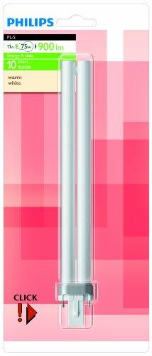 Bombilla fluocompacta Philips G23 base 11 Watts consumidos Equivalencia incandescente: 75W