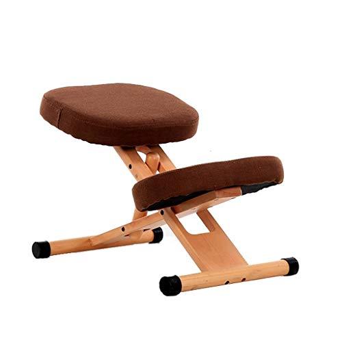 Du hui - Silla de madera ergonómica, para casa y oficina, altura y ángulo de meditación, altura y ángulo ajustable, alivio de la tensión de la columna vertebral, asiento de rodillas balancín con cojines ortopédicos suaves para las rodillas