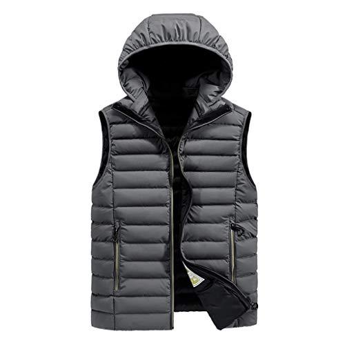 Plot Herren Steppweste mit Kapuze Einfarbig Winter Warm Gefüttert Funktionsweste Daunenweste Leicht Ärmellos Winterjacke Outdoor Sport Weste