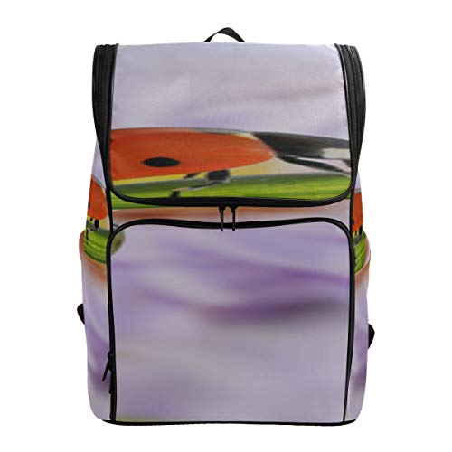 Ladybug On Spring Flowers Best Packable Daypack Mens Sport Bags Large Casual Tote Bag Slim Backpack For Men Fits 15.6 Inch Laptop And Notebook College Book Bags For Women Womens College Bag