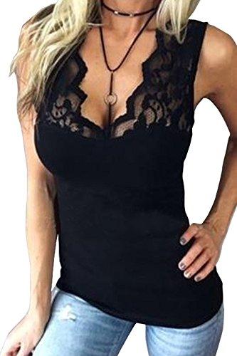 YOINS Canotta Estivo Donna Canottiera Elegante Pizzo Crop Top Vest Sexy Camicette Senza Maniche Felpe Canotte Donne Estive Casuale Nero S
