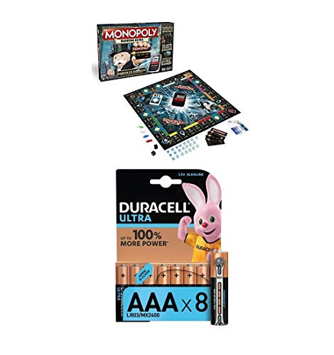 Hasbro Monopoly Banking Ultra - Klassiker der Brettspiele mit elektronischem Kartenleser, Familienspiel ab 8 Jahren + Duracell Ultra Power Alkaline AAA Batterien, 8er Pack