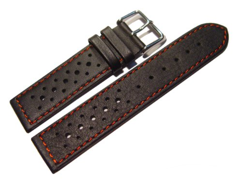 Uhrenarmband - Watchband Berlin - echtes Leder - Race Rally - Style - schwarz - rote Naht - 22mm