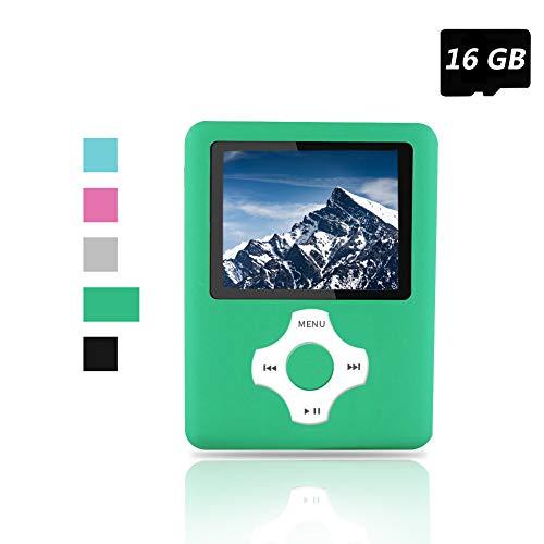 Ueleknight MP3- / MP4-Player, tragbar, digital, Musik-Player/Video-Player/E-Book-Reader/Bildanzeige, mit 16 GB SD-Karte, Grün