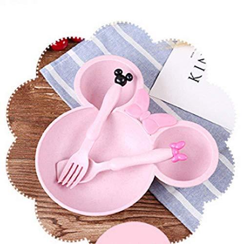 Feixiangge Weizen Stroh Gabel Löffel Essstäbchen Mickey Schale Set Kinder Geschirr japanische und japanische Schweinepeppen Peppa Bambus Faser BOL Rouge de Mickey