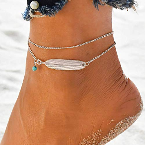 Bohend Boho playa Tobilleras Plata Cuero Pulsera de tobillo Multicapa Talón Calcetín Ajustable Cadena de pie Joyas para mujeres y niñas