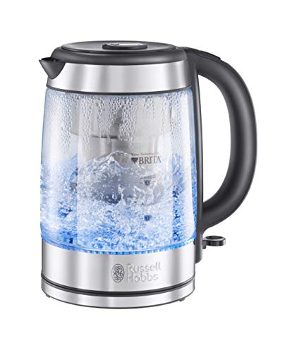 Russell Hobbs 20760-10 Brita Purity Glass Kettle, Filter Kettle with Brita Maxtra+ Cartridge Included, 3000 W, 1.5 Litre